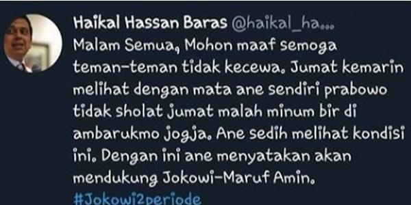 Oala...! Ternyata Akun Haikal Hassan yang Tuit Prabowo Ngebir itu Tidak Dihack, Tapi Salah Login