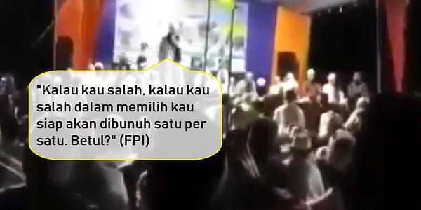 Biadab Provokasi FPI: Kalau Kau Salah Memilih, Kau Siap Akan Dibunuh! Cebong Perbanyak Sabar!