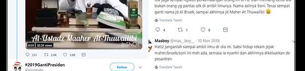 Jejak Digital Ustad Palsu Maaher At Thuwailibi Alias Soni Opini Indonesia Seword