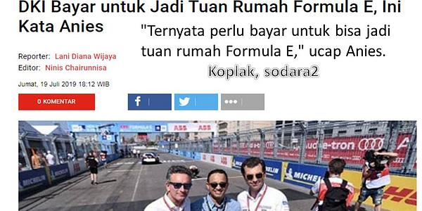 Anggaran Rp 1,6 Triliun Formula-E Jakarta, Anies Dianggap Hamburkan Uang Rakyat